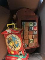 Fisher Price clock; wood blocks & misc toys
