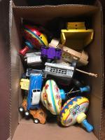 Children's toys including cars; tops; trucks