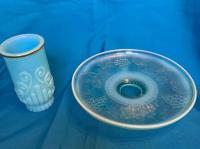 Blue Avon vase, Blue opalescent pedestal dish with great pattern