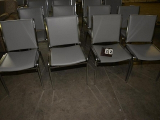 4 OFFICE OR RESTAURANT TABLE CHAIRS STEEL CASE FRAMES, GRAY VINYL BACK IN SEATS, USED