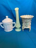 Milk glass basket, covered double handle jar,