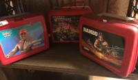 Hulk hogan ; Transformers; Rambo lunch boxes w/ thermos