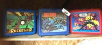 The Rocketeer; Batman; Dick Tracy plastic lunch boxes