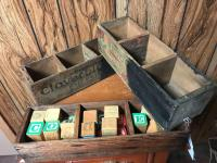 Cheese boxes; wood blocks