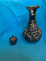 Large blue carnival glass compote,