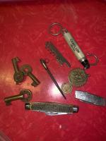 Railroad Keys; pocket knives; sling scale