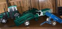 Nylint Plastic Toy Tractor; Metal Trailers; ertl Kenworth Toy Truck; ertl Ford Trailer