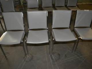 4 OFFICE OR RESTAURANT TABLE CHAIRS STEEL CASE FRAMES, GRAY VINYL BACK IN SEATS, USED- FEW SCRATCHES & A TEAR
