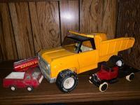 Tonka Metal Dump Truck; Airport Fire Brigade Tanker; Tonka Mini Pickup Truck; ertl Flatbed