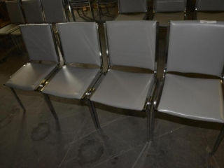 4 OFFICE OR RESTAURANT TABLE CHAIRS STEEL CASE FRAMES, GRAY VINYL BACK IN SEATS, USED- FEW SCRATCHES & WORN VINYL