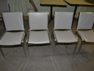 8 OFFICE OR RESTAURANT TABLE CHAIRS STEEL CASE FRAMES, GRAY VINYL BACK IN SEATS, USED- FEW SCRATCHES & WORN VINYL - SCRATCHES AND TORN BOTTOMS