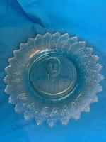 Blue carnival glass plate and