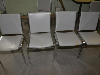 6 OFFICE OR RESTAURANT TABLE CHAIRS STEEL CASE FRAMES, GRAY VINYL BACK IN SEATS, USED- FEW SCRATCHES & WORN VINYL - SCRATCHES AND TORN SEATS
