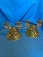 2 Vaseline glass Candle holders