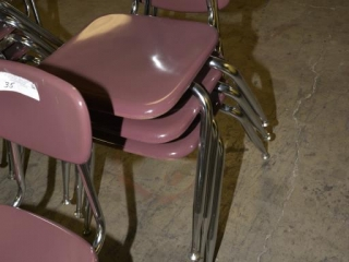 4 CHILD'S CHAIRS PURPLE IN COLOR - SILVER CHROME LEGS SELL TIMES THE MONEY