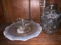 Opalescent hobnail plate, Clear glass bowl,