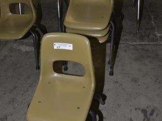 4 ELEMENTARY SCHOOL SIZED OLIVE CHAIRS USED. PAINT WORN ON LEGS