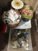 Large lot of buttons ; tins; canceled stamps