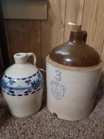 Uhl Pottery Co 3 gal jug; Handpainted Jug