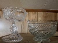 Unicorn Motif Pedestal; Cut Glass Bowl
