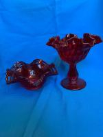 4 red glass pieces