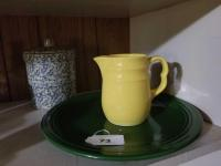 Vintage Oxford Stoneware Yellow Pitcher; Large Fiesta Platter (green); Roseville 2qt Highjar w/Lid