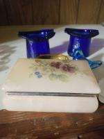 Cobalt Ashtrays; Alabaster Jewelry Box