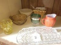 Hobnail Milkglass Double Handled Bowl; Yellow Small Pitcher; Amber Handled Cup; Orange Pitcher; misc clear glass