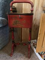 Red smoke stand with Asian design