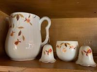 Hall Jewel Tea pitcher, salt and pepper shaker, bowl
