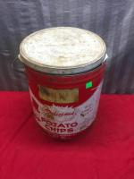 Potato Chip Tin, with assorted dish clothes