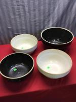 4 Stoneware Mixing Bowls, see pics for condition issues