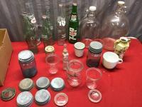 Assorted Zinc Lids, Jars, Bottles, and Jugs
