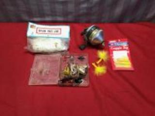Zebco fishing reel and various lures