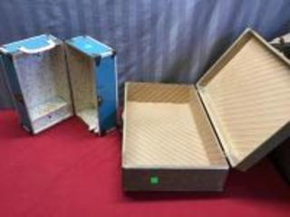 Cass Toys doll case, and a vintage box