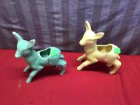 2 Shawnee Deer Pottery Planters, one is cracked, see photos