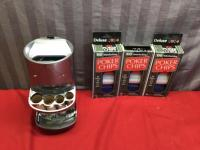 Battery Operated Coin Sorter and 3 unopened Poker Chip packs