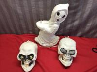 3 Hallowen Blowmold, Ghost and 2 Skulls, ghost is approx 20 inches tall