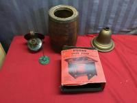 Vintage items, Sterno, copper lantern, wood vessel and more