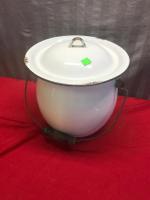Enamelware Lidded Pot with handle