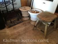 2 Stoneware Planters, dolly Cart & old push mower