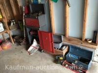 3 toolboxes, Oil Cans & misc tools