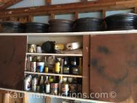 Contents of cabinet / oils, Hardware & misc