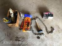Double hook chain, tow rope & misc