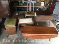 Chair, drop leaf bench & ottomans
