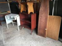 Card Table, Wood ironing board, bench & misc