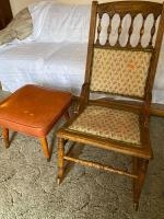 Vintage wooden rocking chair, padded footstool
