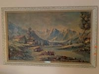 """Swiss chalet painting 44"""" 28"""""""