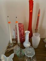 Candle holders, candles, additional glassware