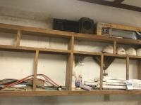 Shelf Cleanout, various items including hard hats, balusters, jigs, radio and more